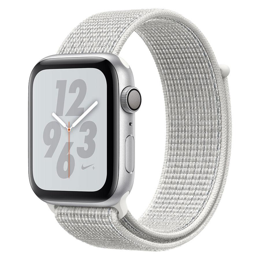 Montre connectée Apple Watch Nike+ Series 4 GPS Aluminium Argent Boucle Sport Blanc 40 mm Montre connectée - Aluminium - Étanche 50 m - GPS/GLONASS - Cardiofréquencemètre - Écran Retina OLED 394 x 324 pixels - Wi-Fi/Bluetooth 5.0 - watchOS 5 - Bracelet Boucle Sport Nike 40 mm