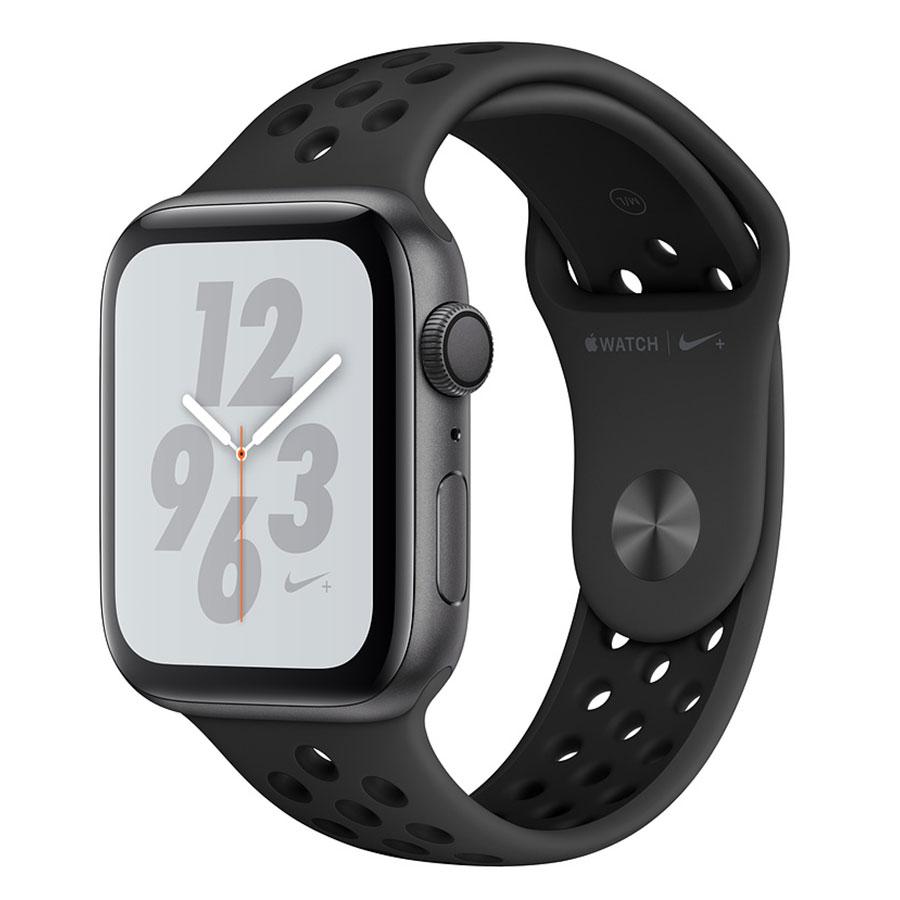 Montre connectée Apple Watch Nike+ Series 4 GPS Aluminium Gris Sport Anthracite/Noir 44 mm Montre connectée - Aluminium - Étanche 50 m - GPS/GLONASS - Cardiofréquencemètre - Écran Retina OLED 448 x 368 pixels - Wi-Fi/Bluetooth 5.0 - watchOS 5 - Bracelet Sport Nike 44 mm