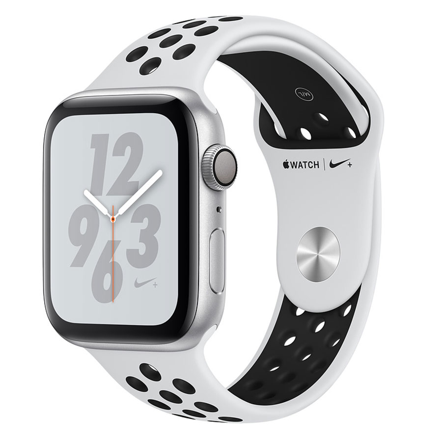 Montre connectée Apple Watch Nike+ Series 4 GPS Aluminium Argent Sport Platine pur/Noir 44 mm Montre connectée - Aluminium - Étanche 50 m - GPS/GLONASS - Cardiofréquencemètre - Écran Retina OLED 448 x 368 pixels - Wi-Fi/Bluetooth 5.0 - watchOS 5 - Bracelet Sport Nike 44 mm