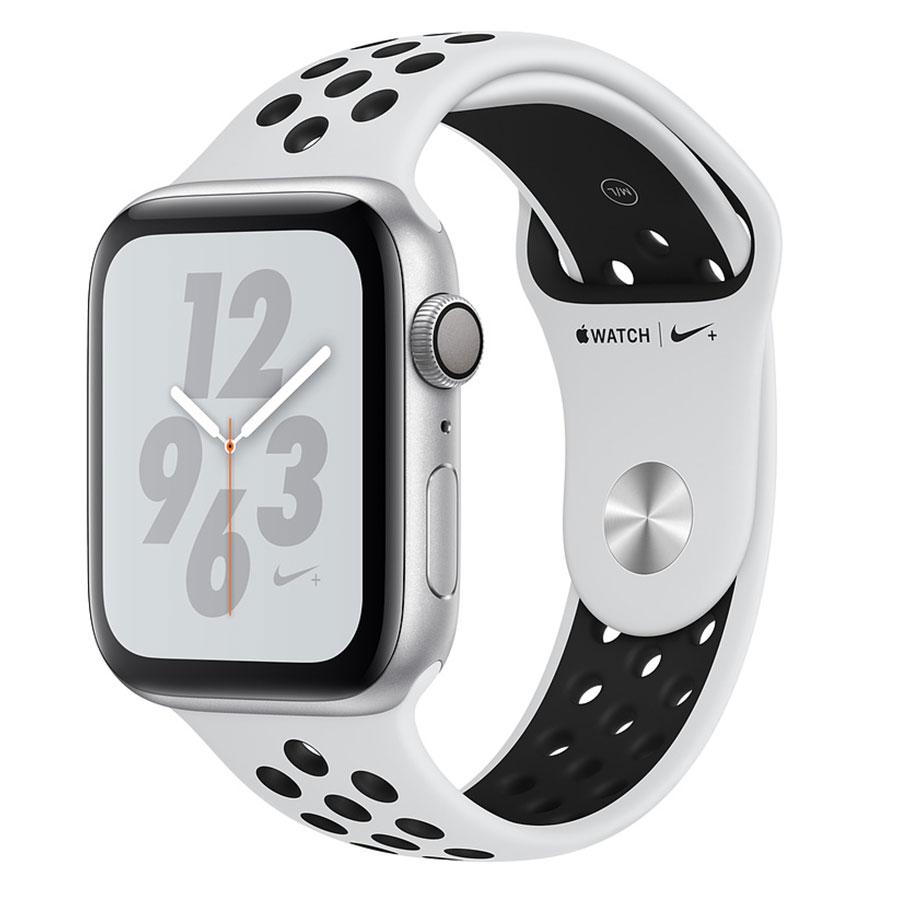 Montre connectée Apple Watch Nike+ Series 4 GPS Aluminium Argent Sport Platine pur/Noir 40 mm Montre connectée - Aluminium - Étanche 50 m - GPS/GLONASS - Cardiofréquencemètre - Écran Retina OLED 394 x 324 pixels - Wi-Fi/Bluetooth 5.0 - watchOS 5 - Bracelet Sport Nike 40 mm
