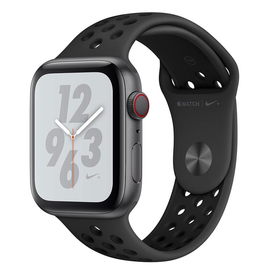 Montre connectée Apple Watch Nike+ Series 4 GPS + Cellular Aluminium Gris Sport Anthracite/Noir 40 mm Montre connectée - Aluminium - Étanche 50 m - GPS/GLONASS - Cardiofréquencemètre - Écran Retina OLED 394 x 324 pixels - Wi-Fi/Bluetooth 5.0 - watchOS 5 - Bracelet Sport Nike 40 mm