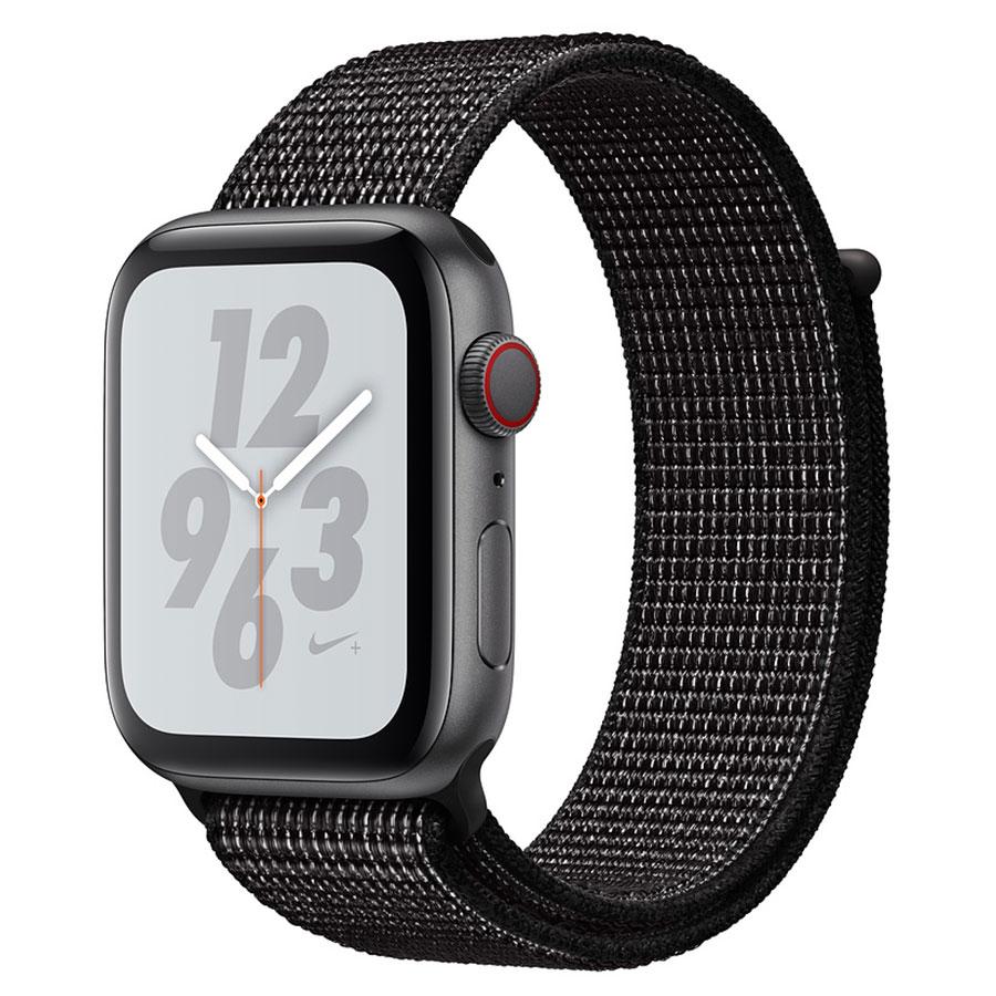 Montre connectée Apple Watch Nike+ Series 4 GPS + Cellular Aluminium Gris Boucle Sport Noir 44 mm Montre connectée - Aluminium - Étanche 50 m - GPS/GLONASS - Cardiofréquencemètre - Écran Retina OLED 448 x 368 pixels - Wi-Fi/Bluetooth 5.0 - watchOS 5 - Bracelet Boucle Sport Nike 44 mm