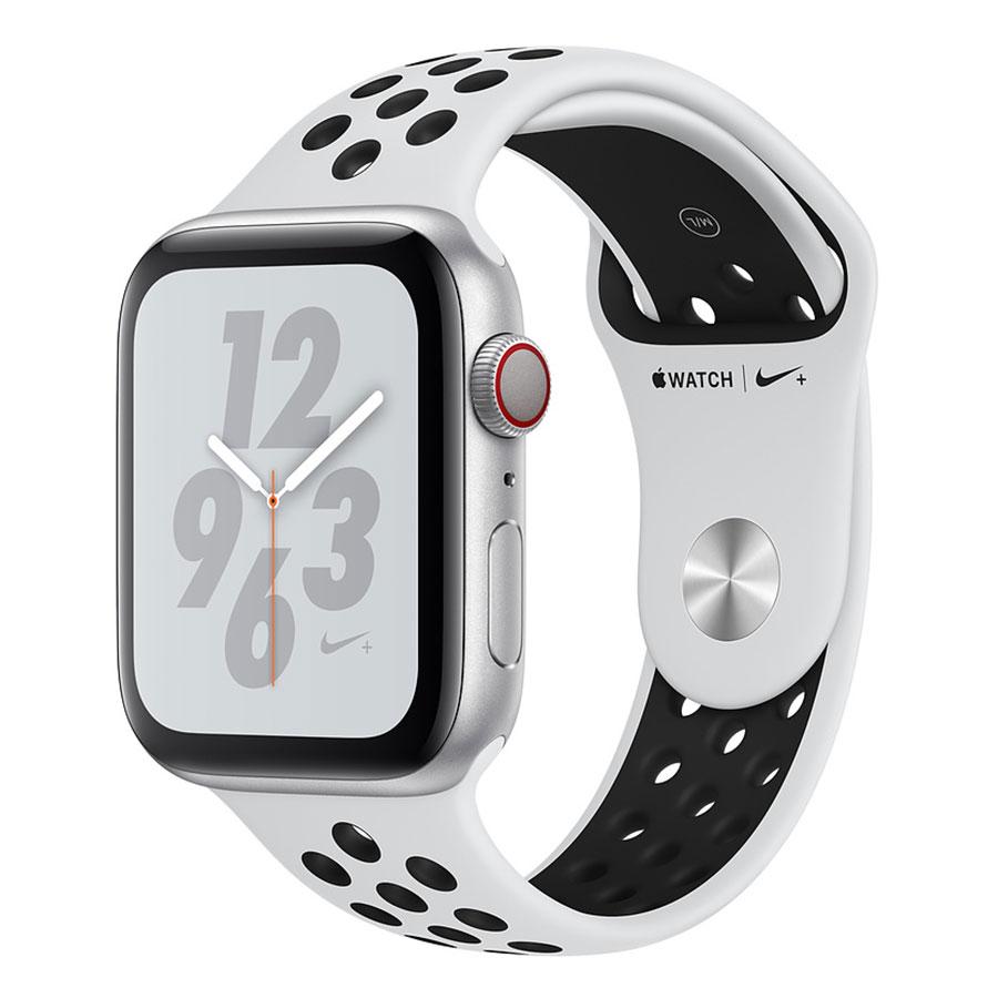Montre connectée Apple Watch Nike+ Series 4 GPS + Cellular Aluminium Argent Sport Platine pur/Noir 44 mm Montre connectée - Aluminium - Étanche 50 m - GPS/GLONASS - Cardiofréquencemètre - Écran Retina OLED 448 x 368 pixels - Wi-Fi/Bluetooth 5.0 - watchOS 5 - Bracelet Sport Nike 44 mm