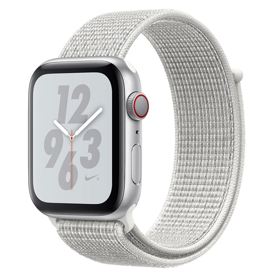Montre connectée Apple Watch Nike+ Series 4 GPS + Cellular Aluminium Argent Boucle Sport Blanc 44 mm Montre connectée - Aluminium - Étanche 50 m - GPS/GLONASS - Cardiofréquencemètre - Écran Retina OLED 448 x 368 pixels - Wi-Fi/Bluetooth 5.0 - watchOS 5 - Bracelet Sport Nike 44 mm
