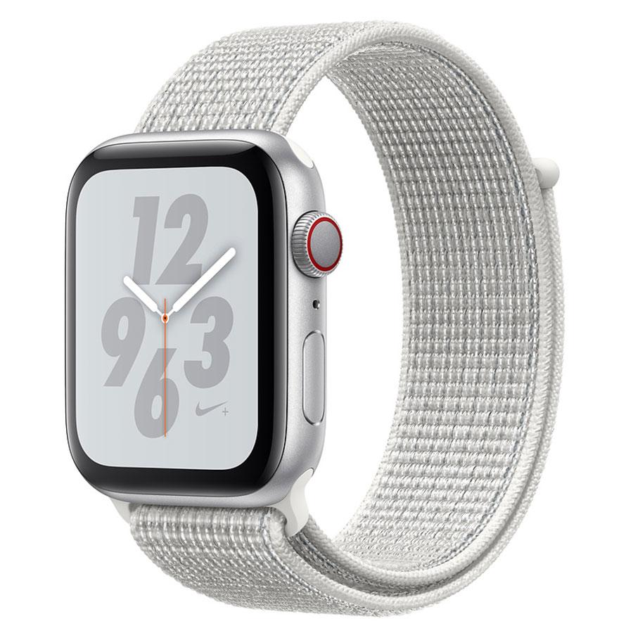 Montre connectée Apple Watch Nike+ Series 4 GPS + Cellular Aluminium Argent Boucle Sport Blanc 40 mm Montre connectée - Aluminium - Étanche 50 m - GPS/GLONASS - Cardiofréquencemètre - Écran Retina OLED 394 x 324 pixels - Wi-Fi/Bluetooth 5.0 - watchOS 5 - Bracelet Sport Nike 40 mm