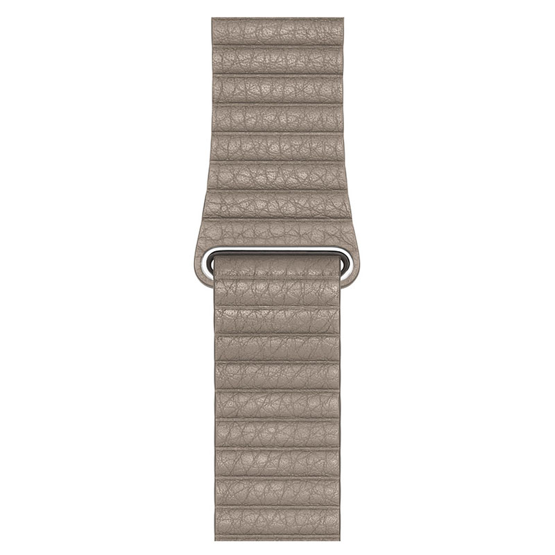 Montre connectée Apple Bracelet Cuir 44 mm Gris Sable - Large Bracelet en cuir pour Apple Watch 42/44 mm