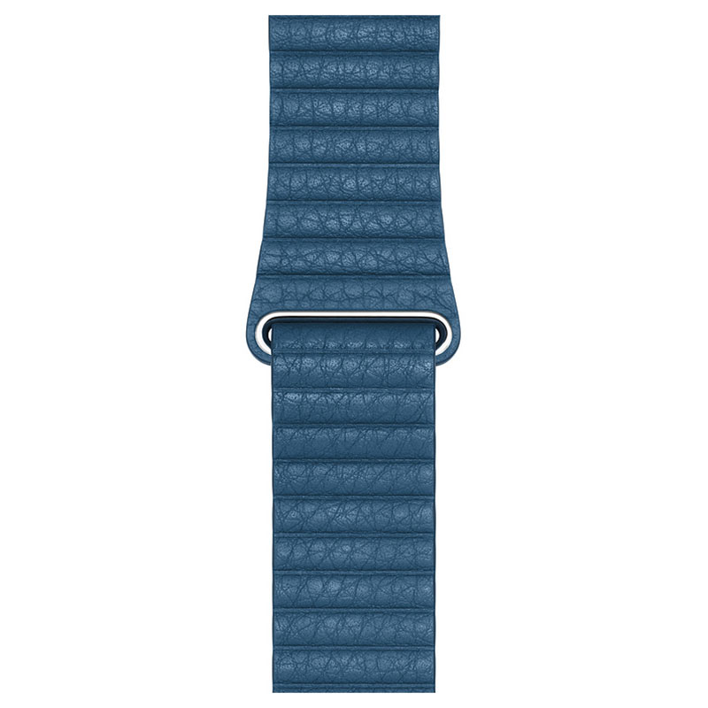 Montre connectée Apple Bracelet Cuir 44 mm Bleu Cape Cod - Large  Bracelet en cuir pour Apple Watch 42/44 mm