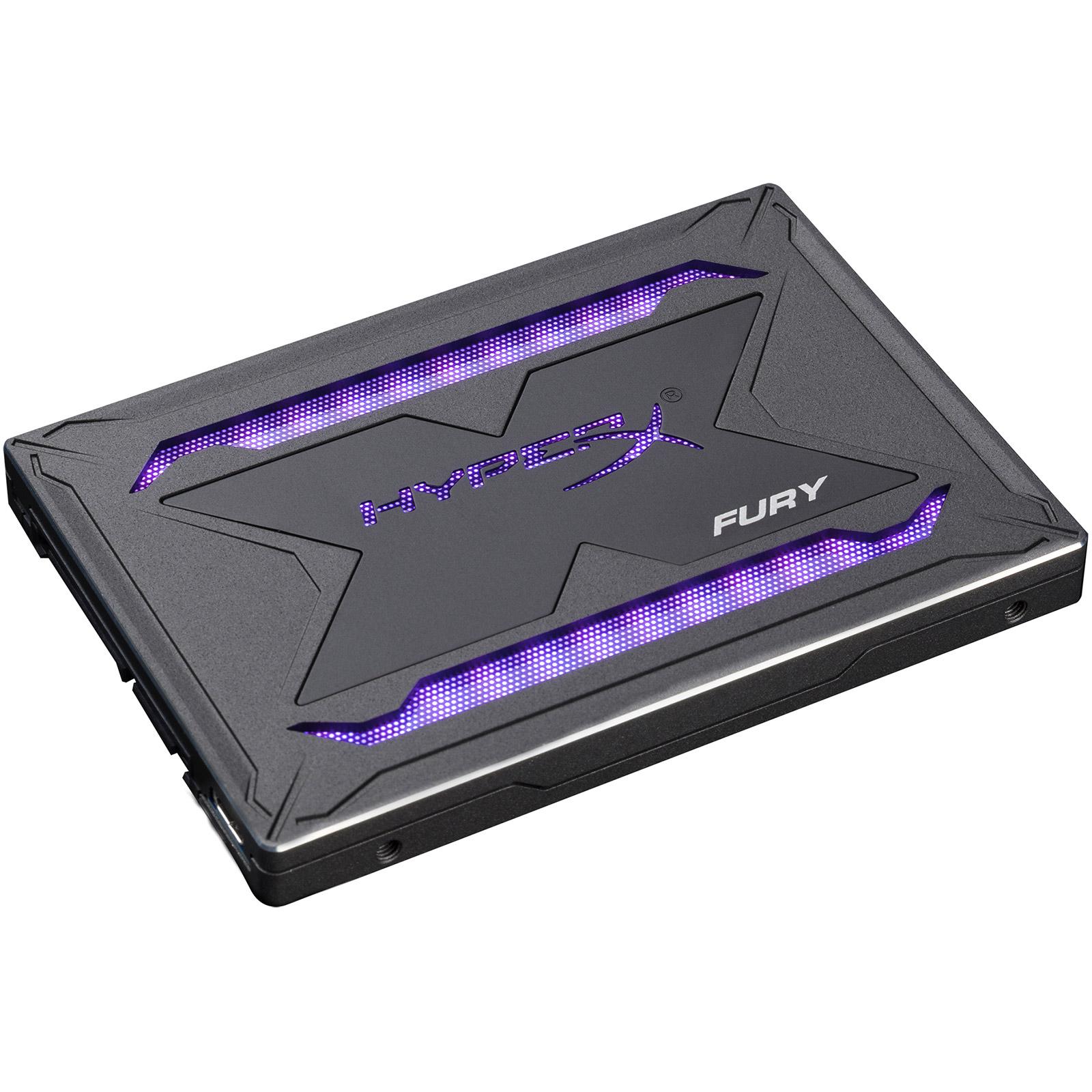"Disque SSD HyperX Fury RGB SSD 480 Go SSD 480 Go 9.5 mm 2.5"" Serial ATA 6Gbit/s avec rétroéclairage RGB"