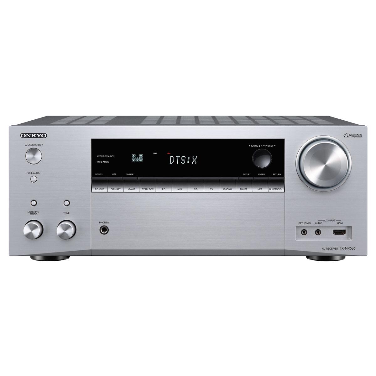 Ampli home cinéma Onkyo TX-NR686E Argent Ampli-tuner Home Cinéma 7.2 - 165 Watts - THX - Wi-Fi/Bluetooth - Dolby Atmos - DTS:X - Multiroom - 4K/60p - HDCP 2.2 - AirPlay/Chromecast - Hi-Res Audio - 7 entrées HDMI