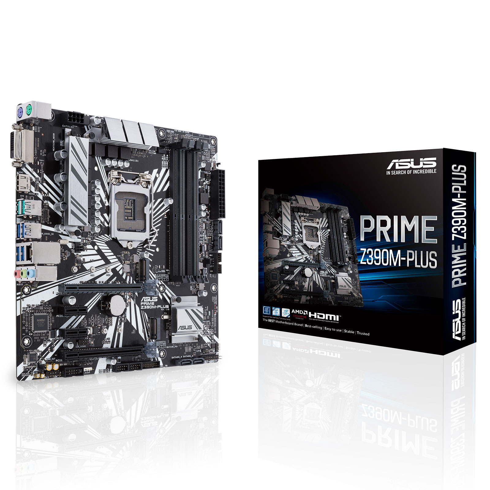 Carte mère ASUS PRIME Z390M-PLUS Carte mère Micro ATX Socket 1151 Intel Z390 Express - 4x DDR4 - SATA 6Gb/s + M.2 - USB 3.1 - 2x PCI-Express 3.0 16x