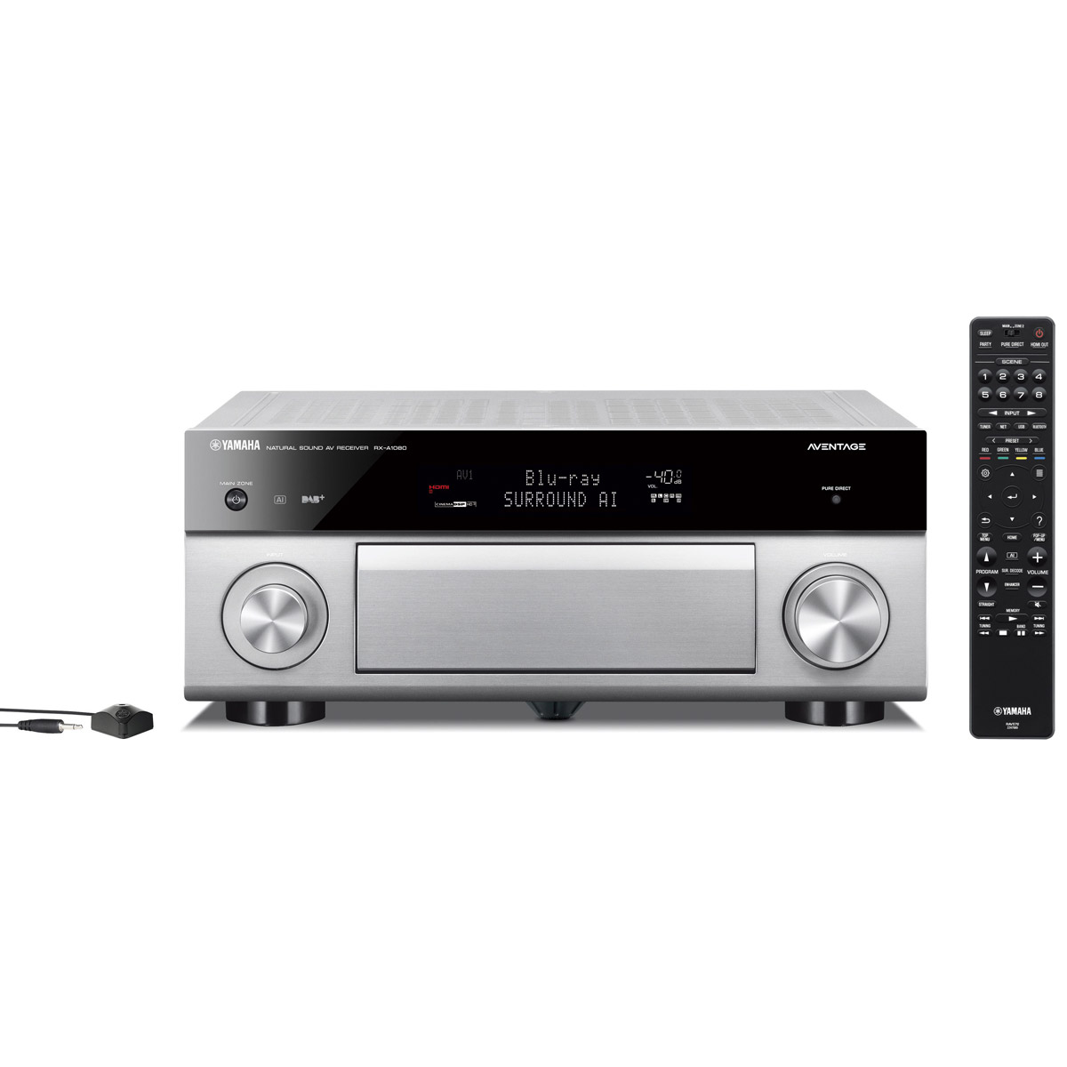 Ampli home cinéma Yamaha RX-A1080 Titane Ampli-tuner Home Cinéma 7.2 3D 110W/canal - Dolby Atmos/DTS:X - 7x HDMI HDCP 2.2 Ultra HD 4K - Wi-Fi/Bluetooth/DLNA/AirPlay - MusicCast/MusicCast Surround - A.R.T. Wedge - Calibration YPAO RSC