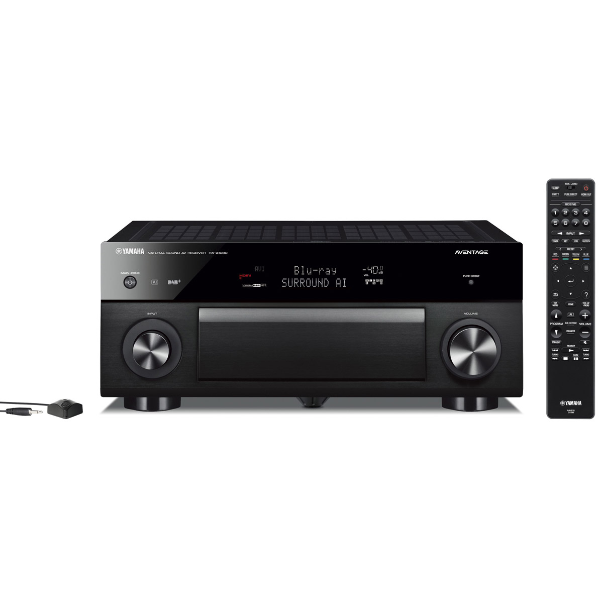 Ampli home cinéma Yamaha RX-A1080 Noir Ampli-tuner Home Cinéma 7.2 3D 110W/canal - Dolby Atmos/DTS:X - 7x HDMI HDCP 2.2 Ultra HD 4K - Wi-Fi/Bluetooth/DLNA/AirPlay - MusicCast/MusicCast Surround - A.R.T. Wedge - Calibration YPAO RSC