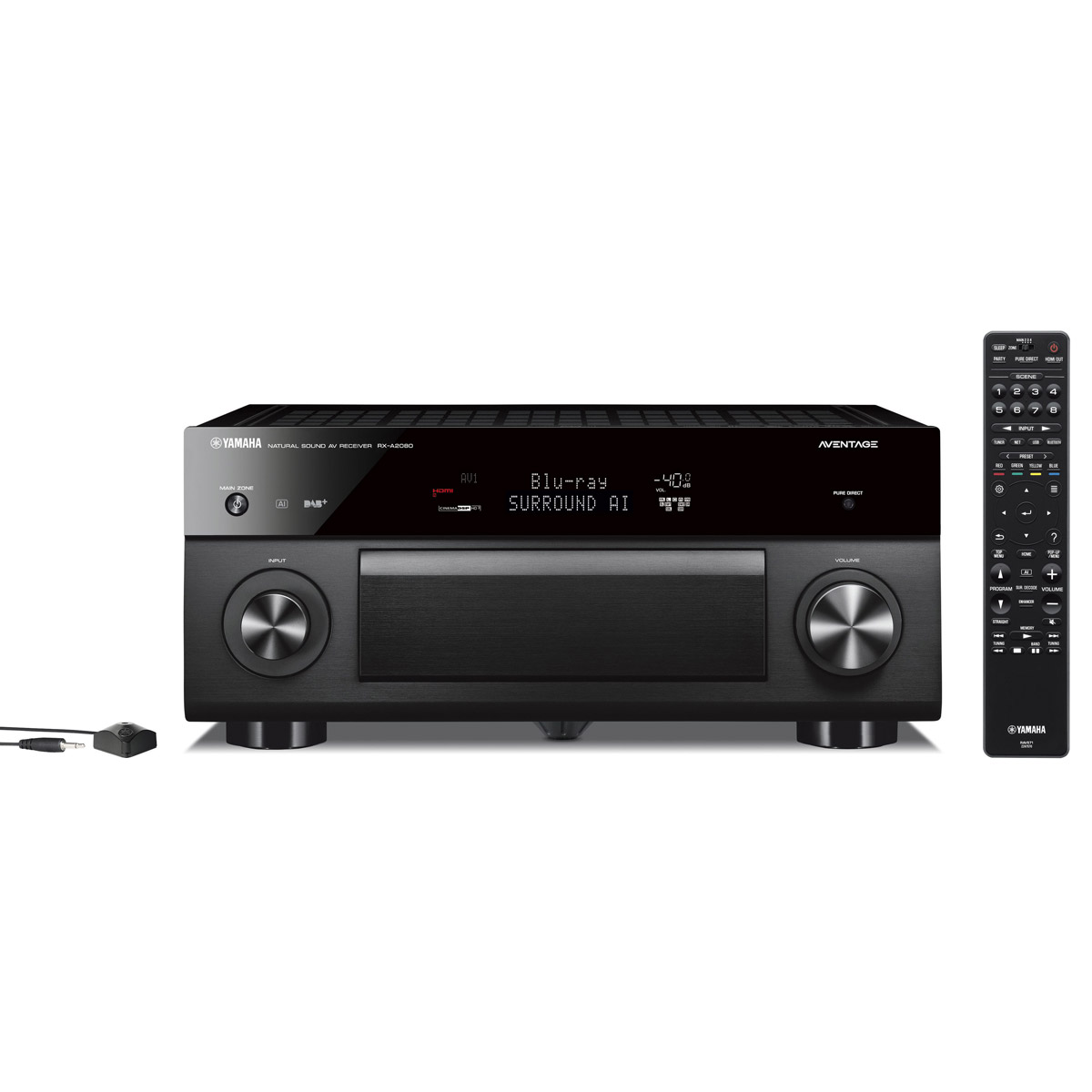 Ampli home cinéma Yamaha RX-A2080 Noir Ampli-tuner Home Cinéma 9.2 3D 140W/canal - Dolby Atmos/DTS:X - 7x HDMI HDCP 2.2 Ultra HD 4K - Wi-Fi/Bluetooth/DLNA/AirPlay - MusicCast/MusicCast Surround - A.R.T. Wedge - Calibration YPAO RSC