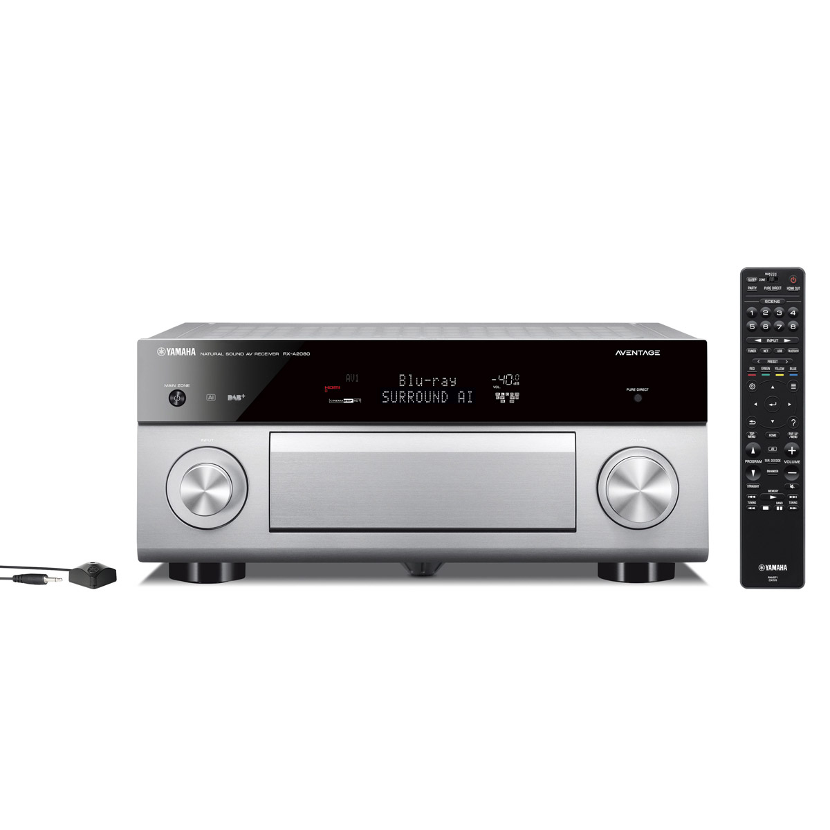 Ampli home cinéma Yamaha RX-A2080 Titane Ampli-tuner Home Cinéma 9.2 3D 140W/canal - Dolby Atmos/DTS:X - 7x HDMI HDCP 2.2 Ultra HD 4K - Wi-Fi/Bluetooth/DLNA/AirPlay - MusicCast/MusicCast Surround - A.R.T. Wedge - Calibration YPAO RSC