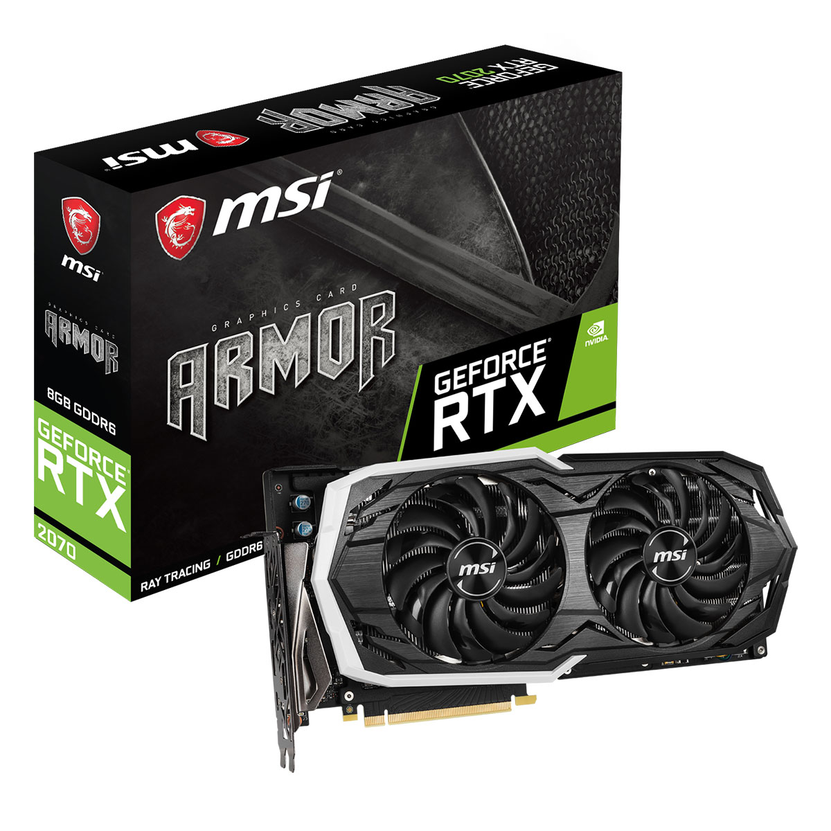 Carte graphique MSI GeForce RTX 2070 ARMOR 8G 8 Go GDDR6 - HDMI/Tri DisplayPort/USB Type-C - PCI Express (NVIDIA GeForce RTX 2070)