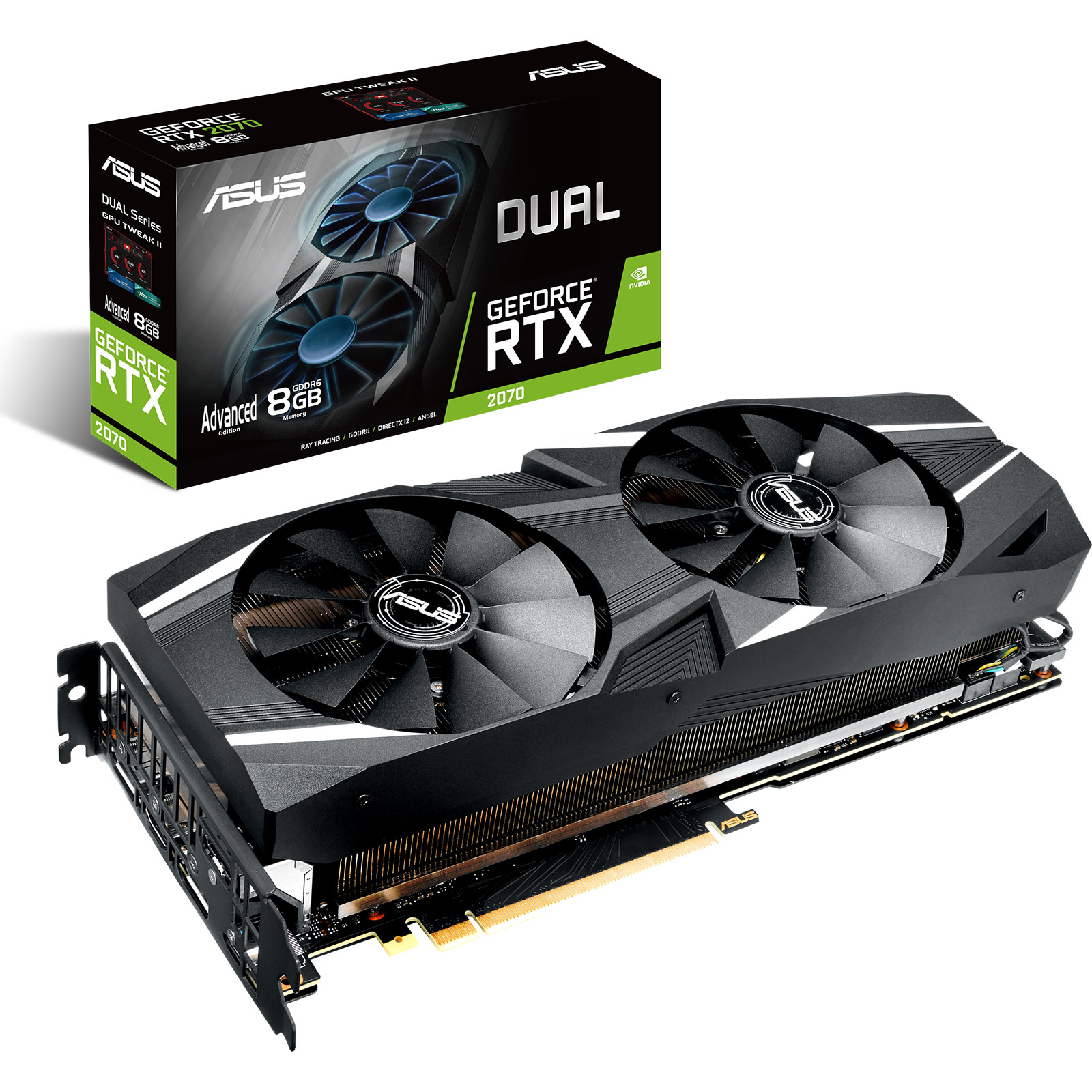 Carte graphique ASUS GeForce RTX 2070 - DUAL-RTX2070-A8G 8 Go GDDR6 - HDMI/Tri DisplayPort/USB Type-C - PCI Express (NVIDIA GeForce RTX 2070)