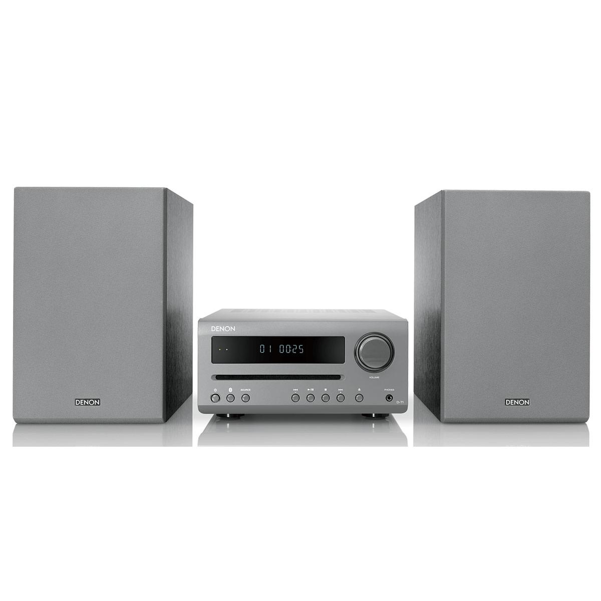 Chaîne Hifi Denon D-T1 Gris Mini-chaîne 2 x 15 Watts avec lecteur CD/CD-R/CD-RW, tuner FM et Bluetooth