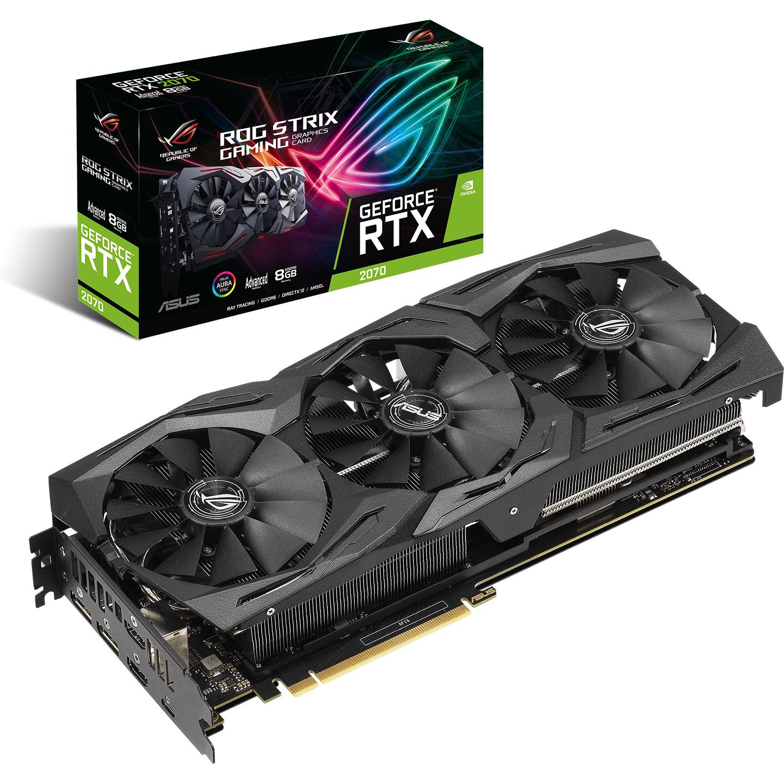 Carte graphique ASUS GeForce RTX 2070 ROG-STRIX-RTX2070-A8G-GAMING 8 Go GDDR6 - Dual HDMI/Dual DisplayPort/USB Type-C - PCI Express (NVIDIA GeForce RTX 2070)