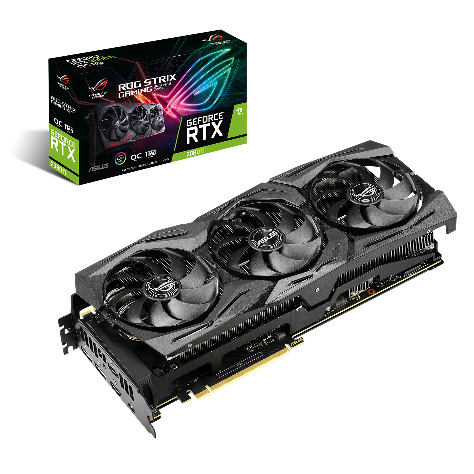 Carte graphique ASUS GeForce RTX 2080 Ti ROG-STRIX-RTX2080TI-O11G-GAMING 11 Go GDDR6 - HDMI/DisplayPort/USB Type-C - PCI Express (NVIDIA GeForce RTX 2080 Ti)