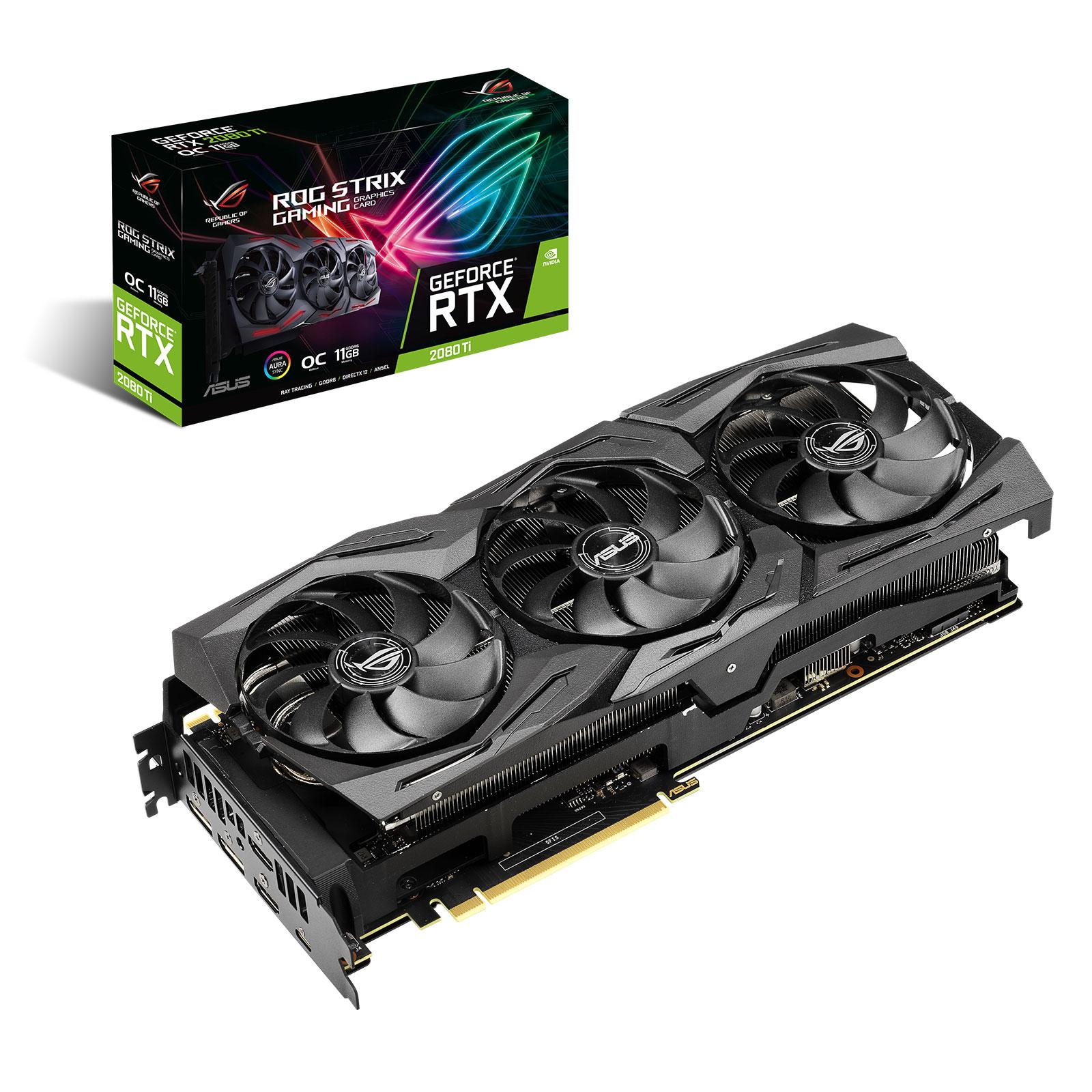 Carte graphique ASUS GeForce RTX 2080 Ti ROG-STRIX-RTX2080TI-A11G-GAMING 11 Go GDDR6 - HDMI/DisplayPort/USB Type-C - PCI Express (NVIDIA GeForce RTX 2080 Ti)