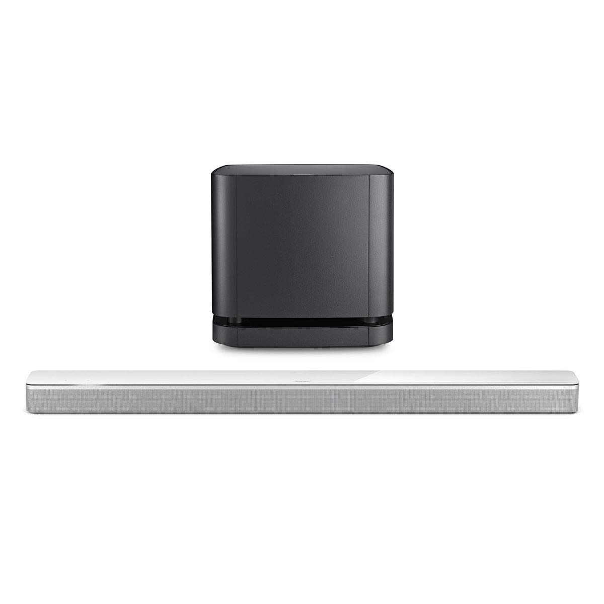 Barre de son Bose Soundbar 700 Arctique + Bass Module 500 Noir Barre de son multiroom - Bluetooth - Wi-Fi - Amazon Alexa - Spotify/Deezer - Autocalibration - Télécommande universelle + Module de basses sans fil