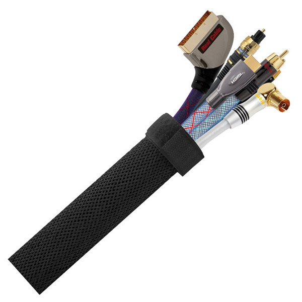 Passe câble Real Cable CC88 Noir 1.5m Cache câble avec gaine en nylon extensible et fermeture scratch - 1.5 m