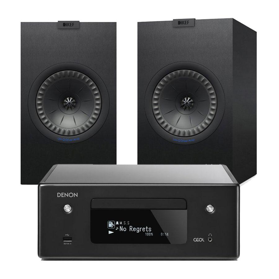 Chaîne Hifi Denon CEOL N10 Noir + KEF Q350 Noir Micro-chaîne CD MP3 USB réseau Wi-Fi Bluetooth avec contrôle iOS, Android et Amazon Alexa + Enceinte bibliothèque (par paire)