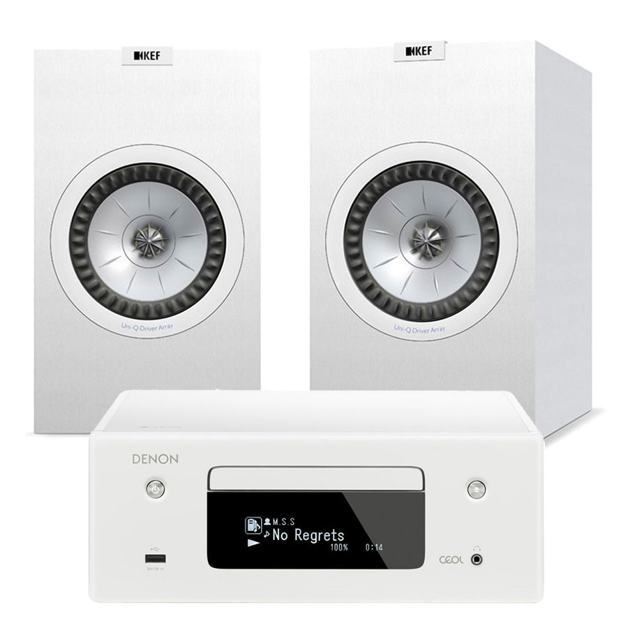 Chaîne Hifi Denon CEOL N10 Blanc + KEF Q150 Blanc Micro-chaîne CD MP3 USB réseau Wi-Fi Bluetooth avec contrôle iOS, Android et Amazon Alexa + Enceinte bibliothèque (par paire)