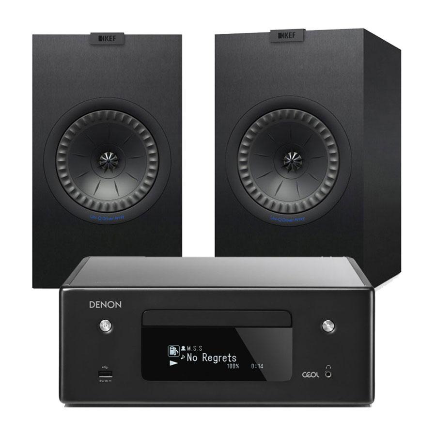 Chaîne Hifi Denon CEOL N10 Noir + KEF Q150 Noir Micro-chaîne CD MP3 USB réseau Wi-Fi Bluetooth avec contrôle iOS, Android et Amazon Alexa + Enceinte bibliothèque (par paire)
