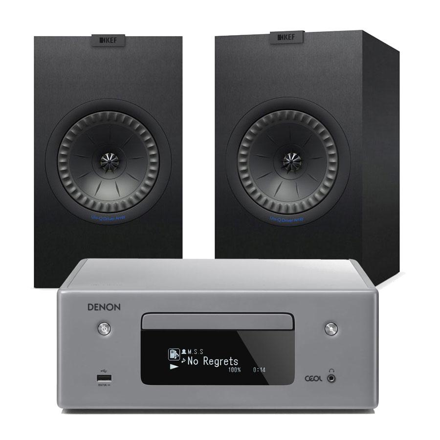 Chaîne Hifi Denon CEOL N10 Gris + KEF Q150 Noir Micro-chaîne CD MP3 USB réseau Wi-Fi Bluetooth avec contrôle iOS, Android et Amazon Alexa + Enceinte bibliothèque (par paire)