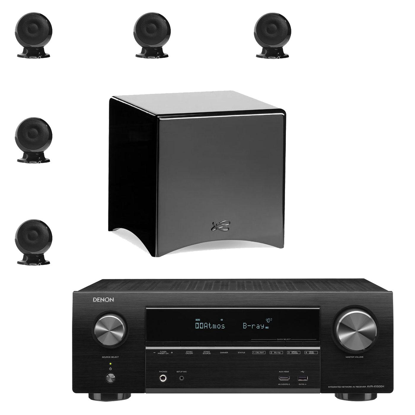 Ensemble home cinéma Denon AVR-X1500H Noir + Cabasse pack Eole 3 5.1 WS Noir Ampli-tuner Home Cinema 3D Ready 7.2 - Dolby Atmos / DTS:X - 6x HDMI 4K Ultra HD, HDCP 2.2, HDR - Wi-Fi, Bluetooth, AirPlay 2 - Multiroom - Amazon Alexa + Ensemble 5.1