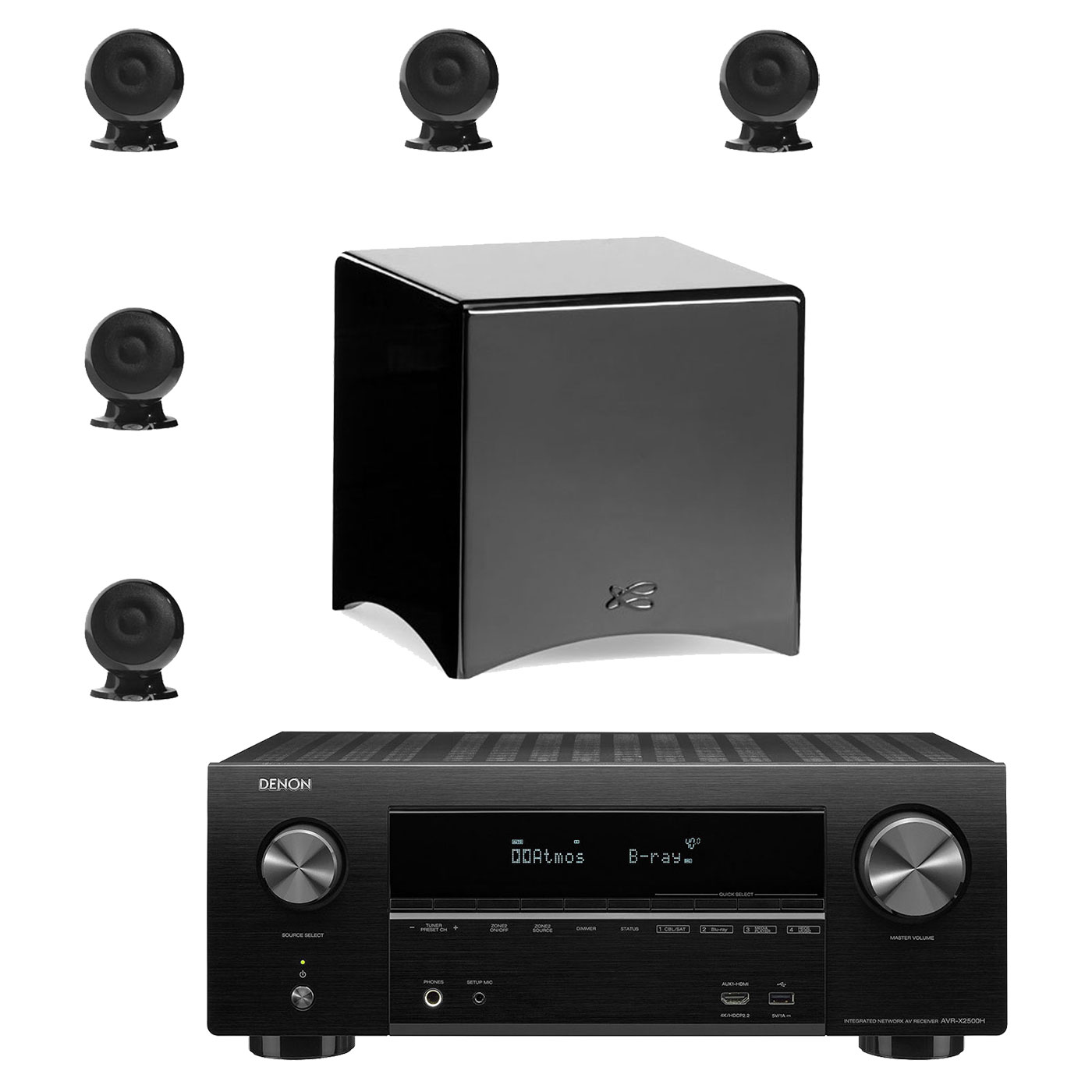 Ensemble home cinéma Denon AVR-X2500H Noir + Cabasse pack Eole 3 5.1 WS Noir Ampli-tuner Home Cinema 3D Ready 7.2 - Dolby Atmos / DTS:X - 8x HDMI 4K Ultra HD, HDCP 2.2, HDR - Wi-Fi, Bluetooth, AirPlay 2 - Multiroom - Amazon Alexa + Pack d'enceintes 5.1