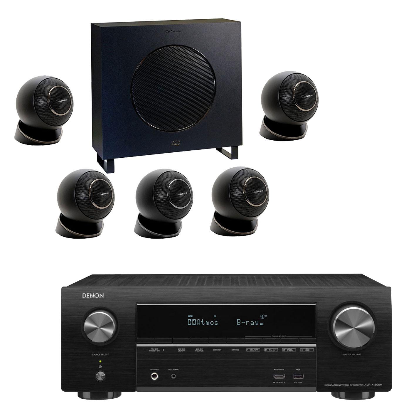Ensemble home cinéma Denon AVR-X1500H Noir + Cabasse Eole 4 Noir Ampli-tuner Home Cinema 3D Ready 7.2 - Dolby Atmos / DTS:X - 6x HDMI 4K Ultra HD, HDCP 2.2, HDR - Wi-Fi, Bluetooth, AirPlay 2 - Multiroom - Amazon Alexa + Pack d'enceintes 5.1