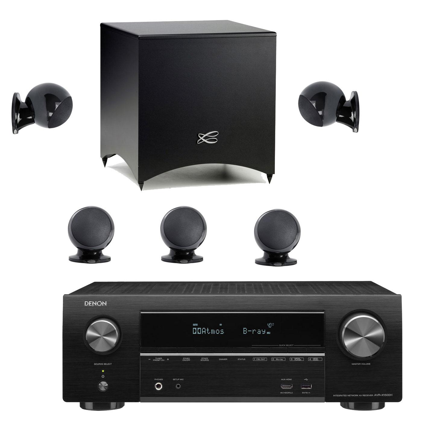 Ensemble home cinéma Denon AVR-X1500H Noir + Cabasse Alcyone 2 Pack 5.1 Noir Ampli-tuner Home Cinema 3D Ready 7.2 - Dolby Atmos / DTS:X - 6x HDMI 4K Ultra HD, HDCP 2.2, HDR - Wi-Fi, Bluetooth, AirPlay 2 - Multiroom - Amazon Alexa + Pack d'enceintes 5.1