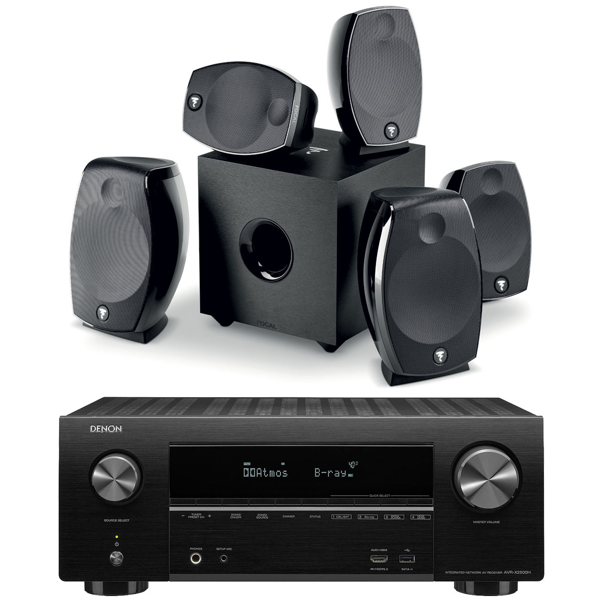 Ensemble home cinéma Denon AVR-X2500H Noir + Focal Sib Evo 5.1.2 Dolby Atmos Ampli-tuner Home Cinema 3D Ready 7.2 - Dolby Atmos / DTS:X - 8x HDMI 4K Ultra HD, HDCP 2.2, HDR - Wi-Fi, Bluetooth, AirPlay 2 - Multiroom - Amazon Alexa + Pack d'enceintes 5.1.2