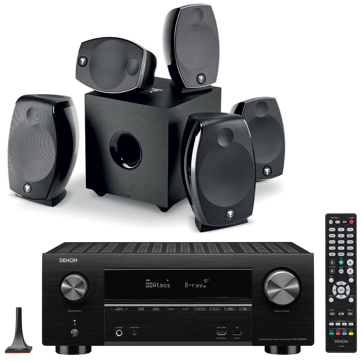 Ensemble home cinéma Denon AVR-X3500H Noir + Focal Sib Evo 5.1.2 Dolby Atmos Ampli-tuner Home Cinema 3D Ready 7.2 - Dolby Atmos / DTS:X - 8x HDMI 4K Ultra HD, HDCP 2.2, HDR - Wi-Fi, Bluetooth, AirPlay 2 - Multiroom - Amazon Alexa + Pack d'enceintes 5.1.2