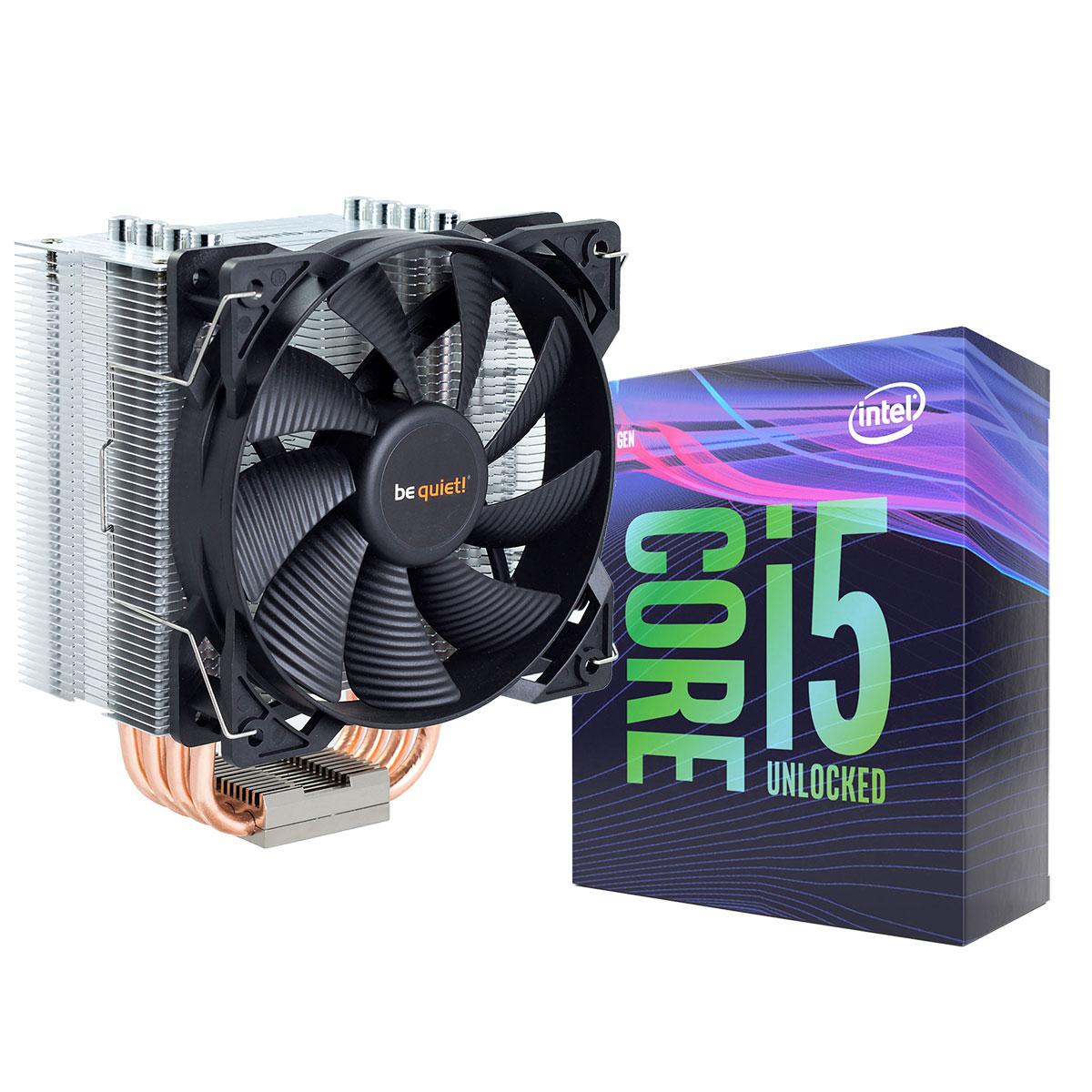 Processeur Intel Core i5-9600K + be quiet! Pure Rock Processeur 6-Core Socket 1151 Cache L3 9 Mo Intel UHD Graphics 630 0.014 micron (version bulk - ventilateur et pâte thermique inclus - garantie 1 an)