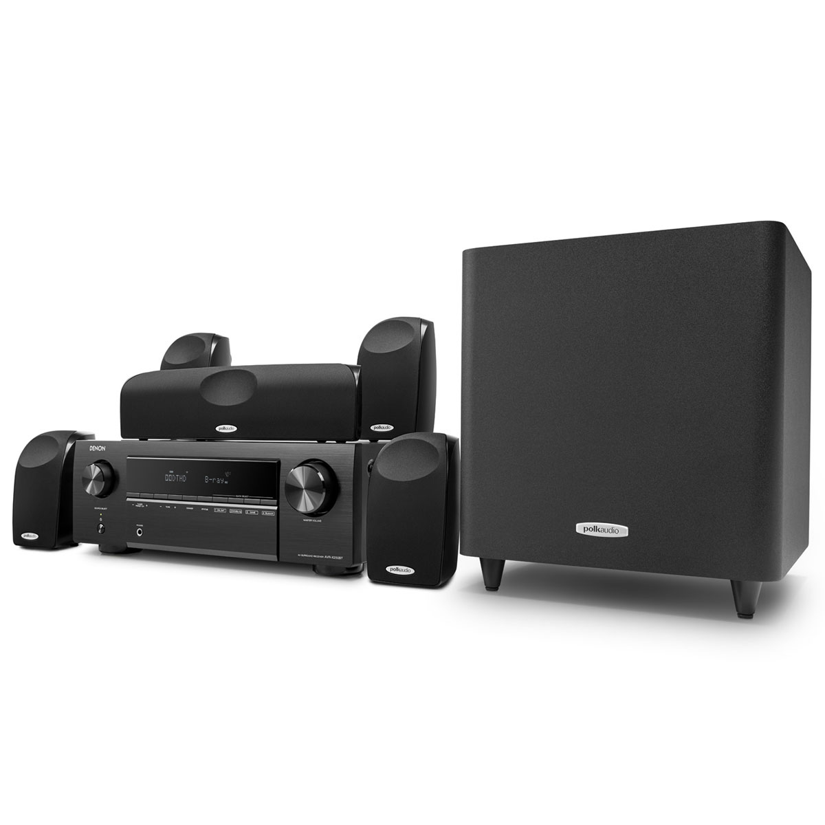 Ensemble home cinéma Denon DHT-X250TL Ampli-tuner 5.1 Home Cinema 3D Ready 130 Watts - DTS-HD Master Audio / Dolby TrueHD - 5 entrées HDMI 2.0 4K Ultra HD HDCP 2.2 - HDR / HLG - Bluetooth + Pack d'enceintes 5.1