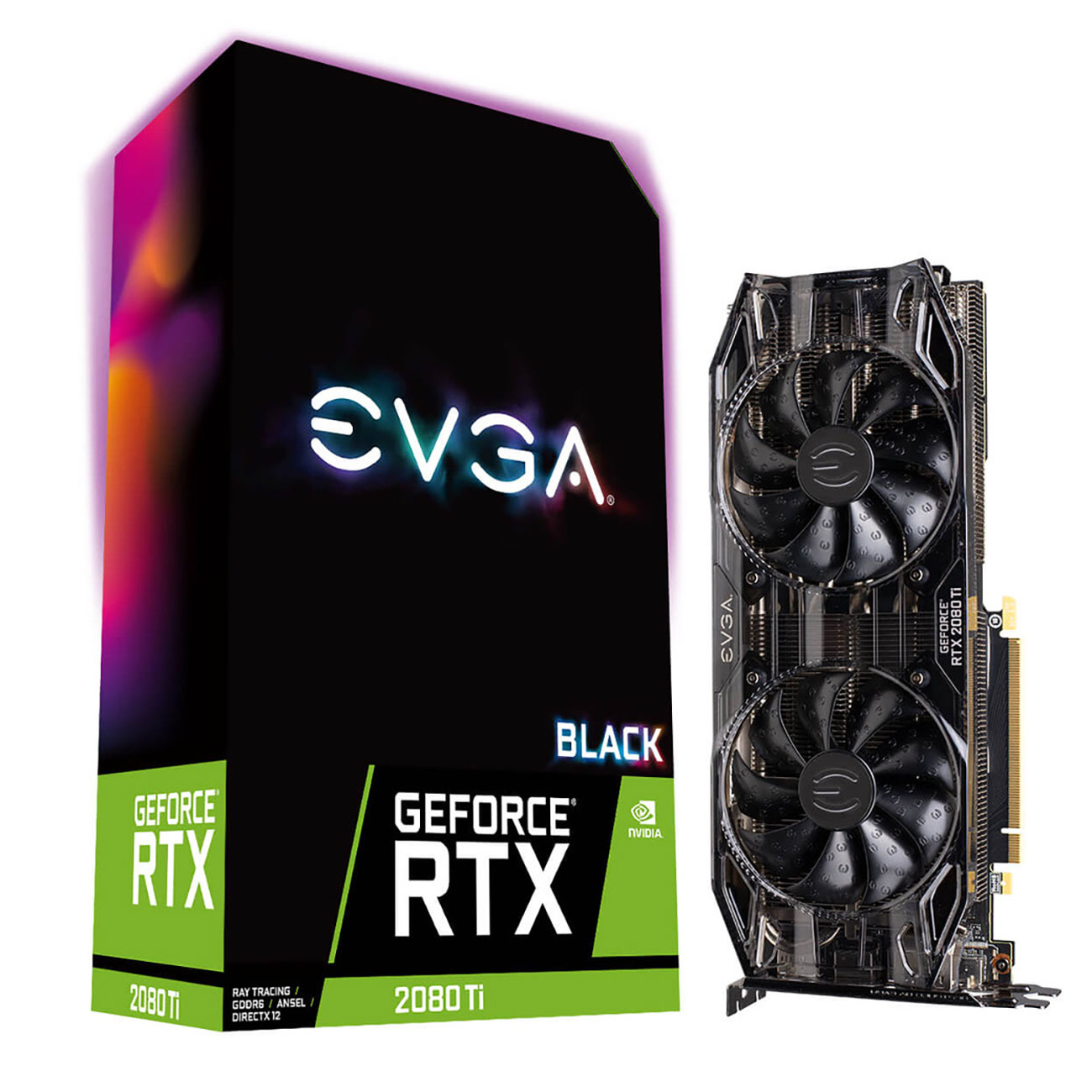 Carte graphique EVGA GeForce RTX 2080 Ti BLACK EDITION GAMING 11 Go GDDR6 - HDMI/Tri DisplayPort/USB Type-C - PCI Express (NVIDIA GeForce RTX 2080 Ti)