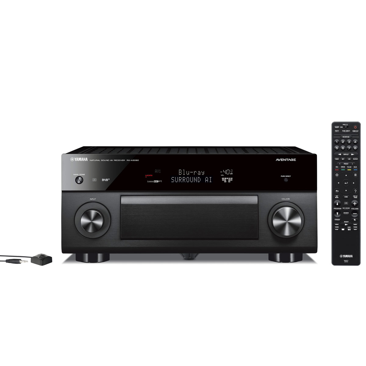 Ampli home cinéma Yamaha RX-A3080 Noir Ampli-tuner Home Cinéma 9.2 3D 150W/canal - Dolby Atmos/DTS:X - 7x HDMI HDCP 2.2 Ultra HD 4K - Wi-Fi/Bluetooth/DLNA/AirPlay - MusicCast/MusicCast Surround - A.R.T. Wedge - Calibration YPAO RSC