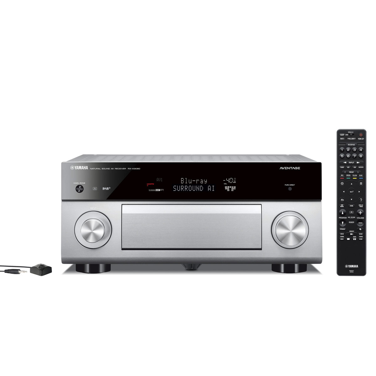 Ampli home cinéma Yamaha RX-A3080 Titane Ampli-tuner Home Cinéma 9.2 3D 150W/canal - Dolby Atmos/DTS:X - 7x HDMI HDCP 2.2 Ultra HD 4K - Wi-Fi/Bluetooth/DLNA/AirPlay - MusicCast/MusicCast Surround - A.R.T. Wedge - Calibration YPAO RSC