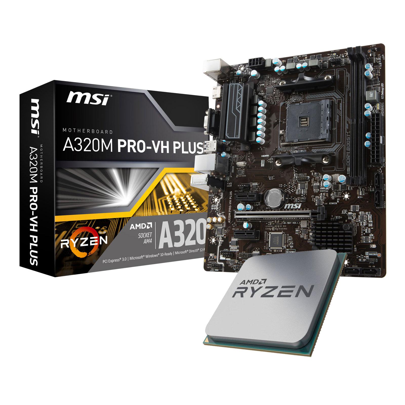 Kit upgrade PC Kit Upgrade PC AMD Ryzen 5 2400G MSI A320M PRO-VH PLUS Carte mère Micro ATX Socket AM4 AMD A320 + CPU AMD Ryzen 5 2400G (3.6 GHz)