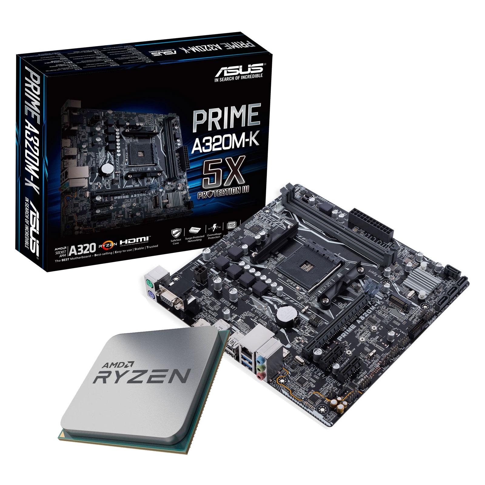 Kit upgrade PC Kit Upgrade PC AMD Ryzen 5 2400G ASUS PRIME A320M-K Carte mère Micro ATX Socket AM4 AMD A320 + CPU AMD Ryzen 5 2400G (3.6 GHz)