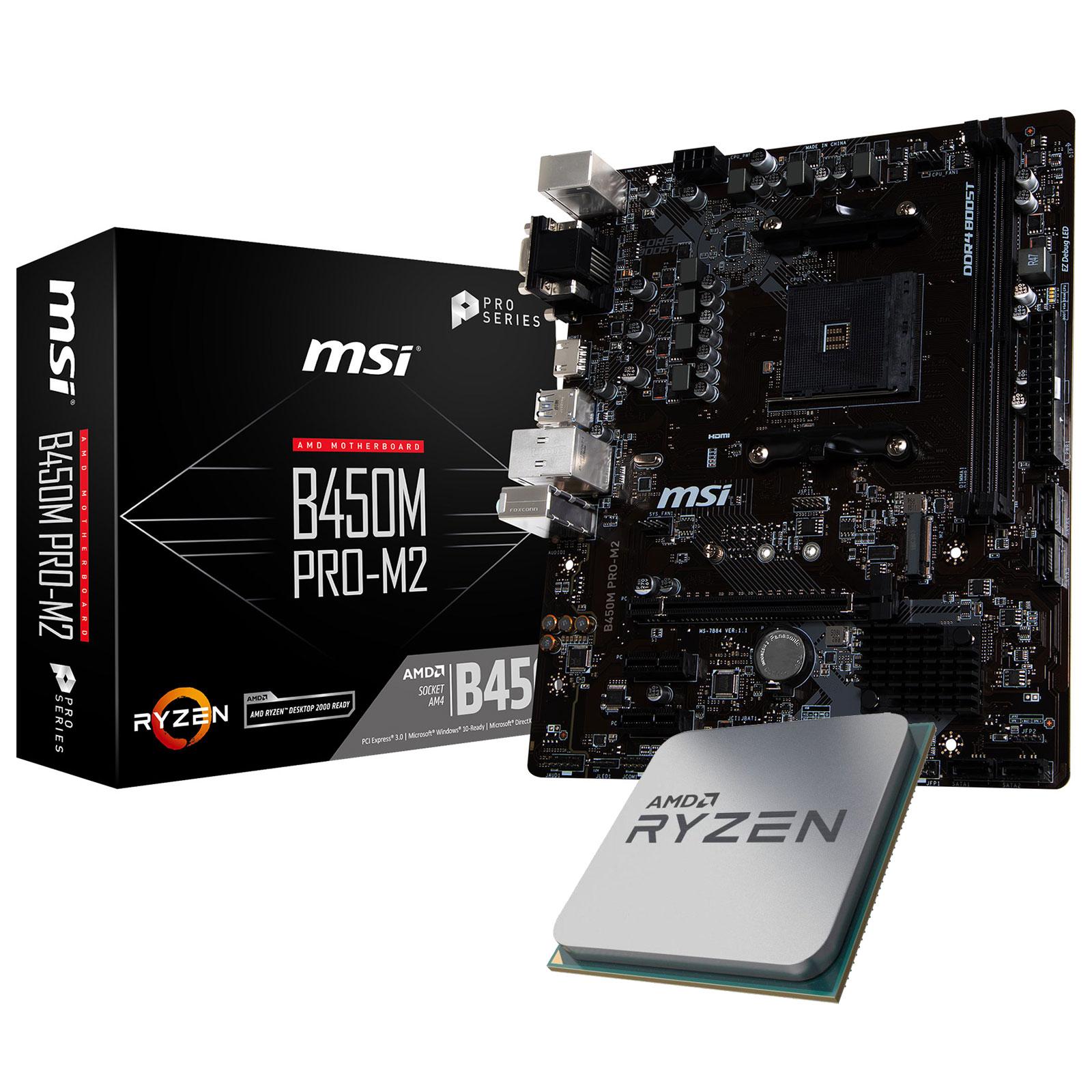 Kit upgrade PC Kit Upgrade PC AMD Ryzen 5 2600X MSI B450M PRO-M2 Carte mère Micro ATX Socket AM4 AMD B450 + CPU AMD Ryzen 5 2600X (3.6 GHz)