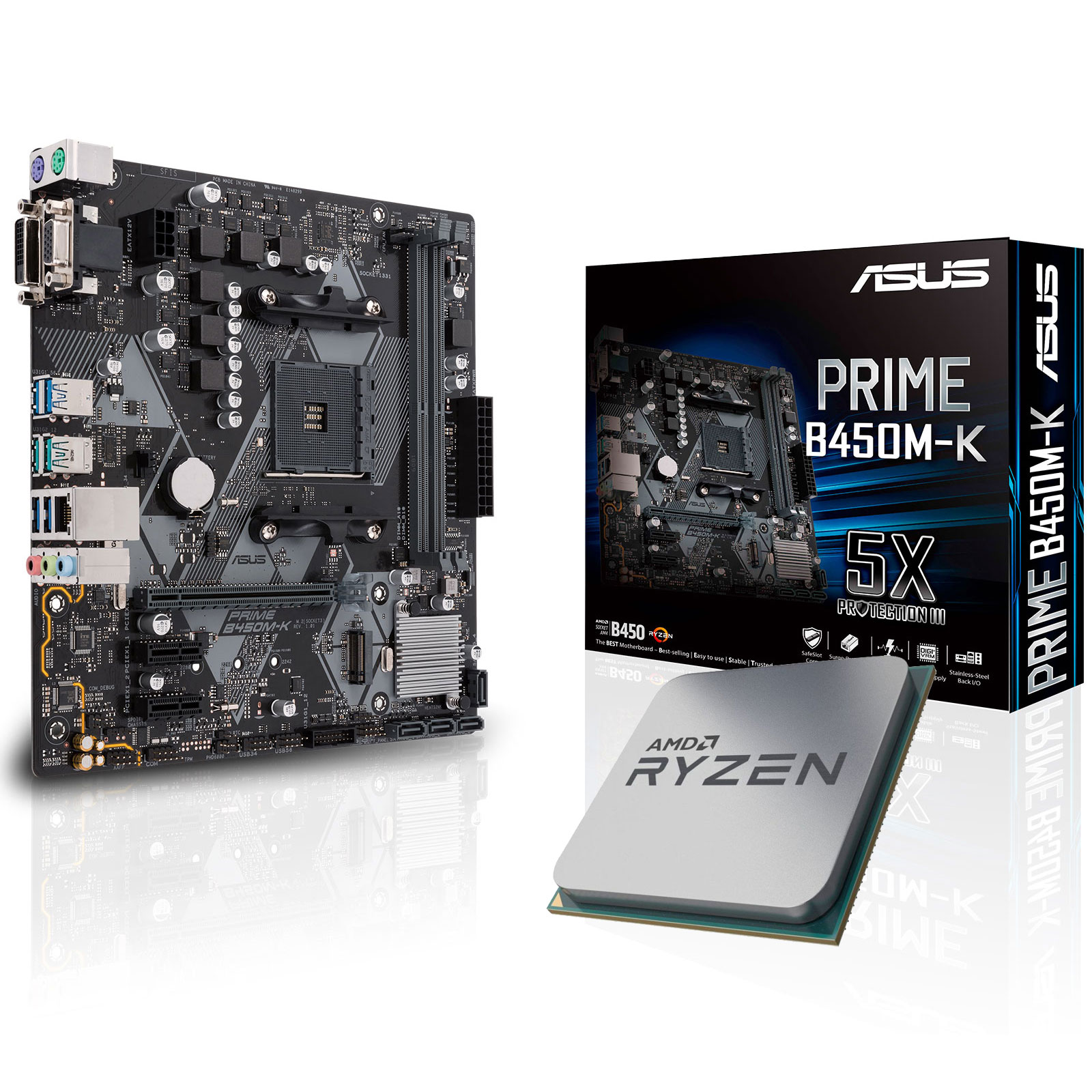 Kit upgrade PC Kit Upgrade PC AMD Ryzen 5 2600X ASUS PRIME B450M-K Carte mère Micro ATX Socket AM4 AMD B450 + CPU AMD Ryzen 5 2600X (3.6 GHz)
