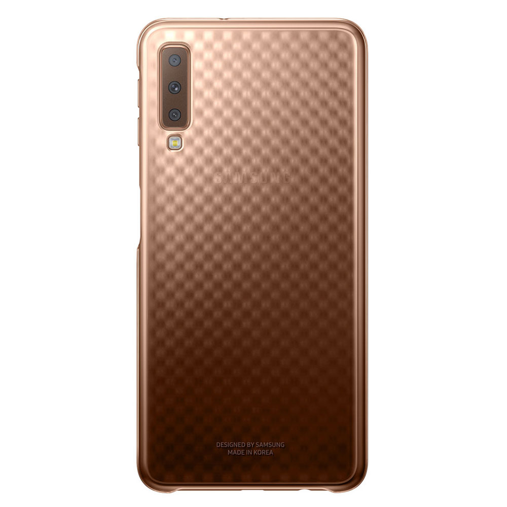 Etui Telephone Samsung Gradation Clear Cover Or Galaxy A7 2018 Coque Arriere Pour