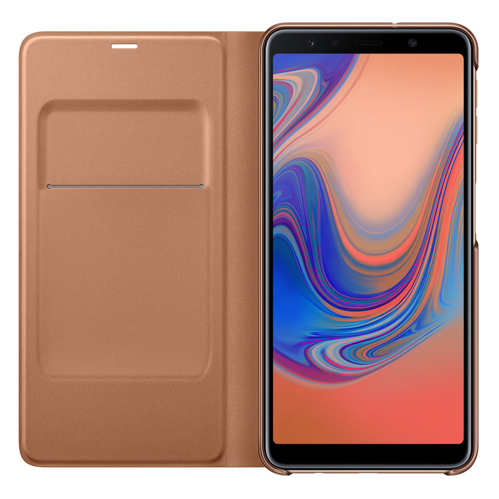 Etui Telephone Samsung Flip Wallet Or Galaxy A7 2018 Portefeuille Pour