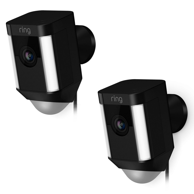ring spotlight cam wired noir x 2 cam ra de surveillance ring sur. Black Bedroom Furniture Sets. Home Design Ideas