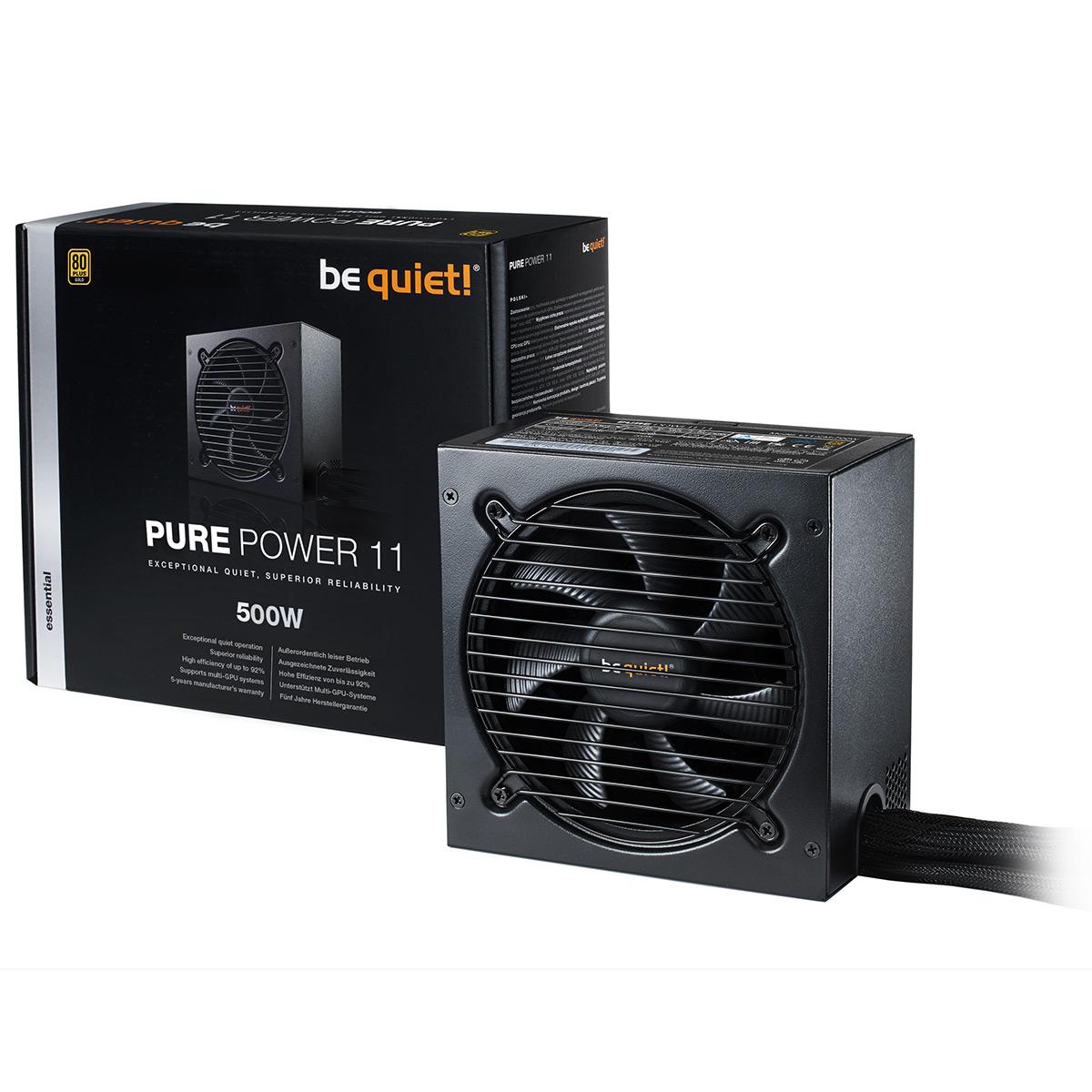 Alimentation PC be quiet! Pure Power 11 500W 80PLUS Gold Alimentation 500W ATX 12V 2.4 (Garantie 5 ans constructeur) - 80PLUS Gold