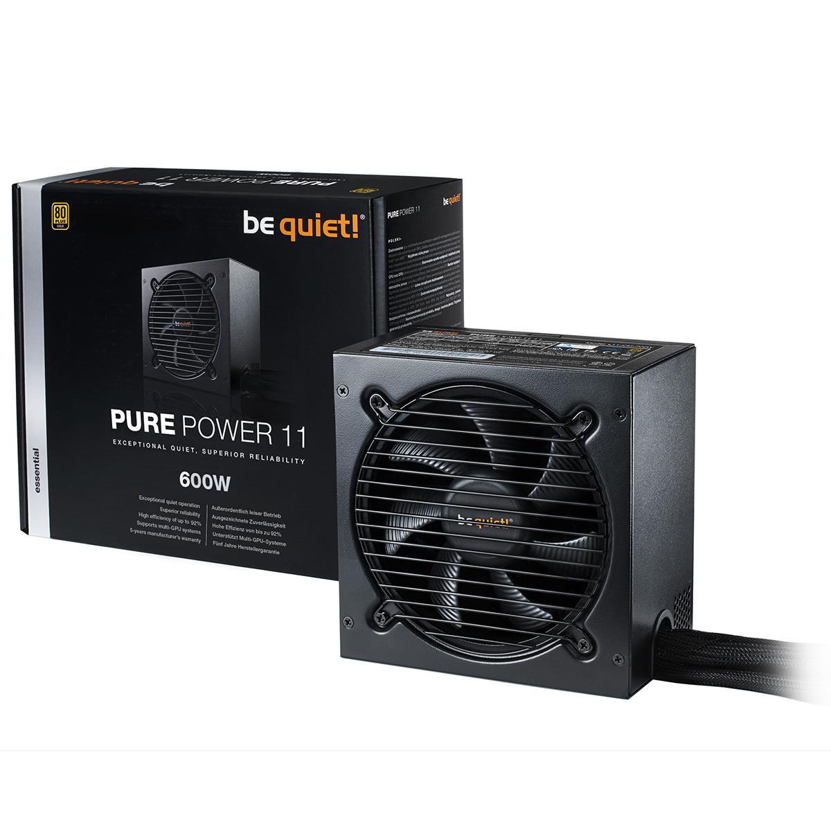 Alimentation PC be quiet! Pure Power 11 600W 80PLUS Gold Alimentation 600W ATX 12V 2.4 (Garantie 5 ans constructeur) - 80PLUS Gold